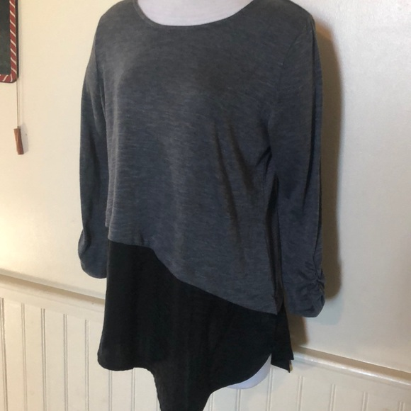 Apt. 9 Tops - Apr. 9 mock layer blouse asymmetrical hem large